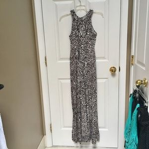 banana republic womens xs brown printed maxi dress